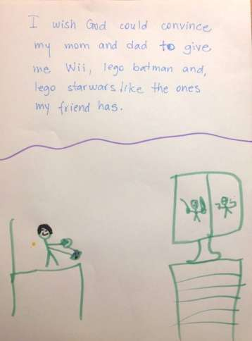 One kid wants what his friend has in this drawing about God from the new book, OMG! How Children See God.