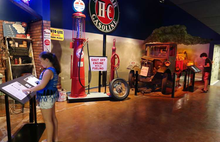 Guideposts: Visitors stroll among the engaging and informative exhibitions at the Route 66 Museum in Clinton, OK