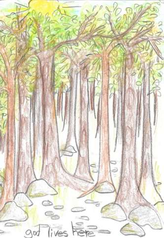 A lovely drawing of a forest by one kid on where God lives, from the new book, OMG! How Children See God.