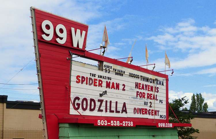 The venerable marquee outside the 99W Drive-in in Newberg, Oregon