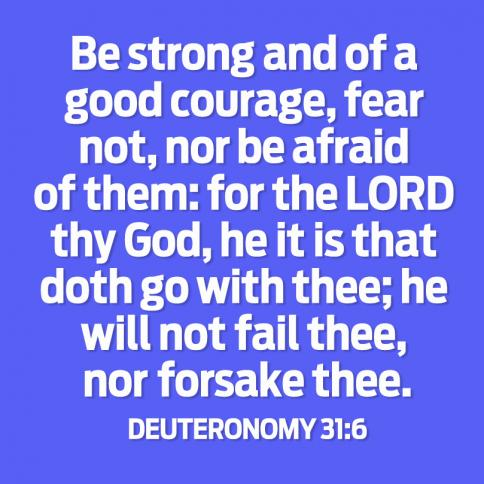 Be strong and of a good courage, fear not, nor be afraid of them; for the LORD thy God, He it is that doth go with thee; He will not fail thee, nor forsake thee.