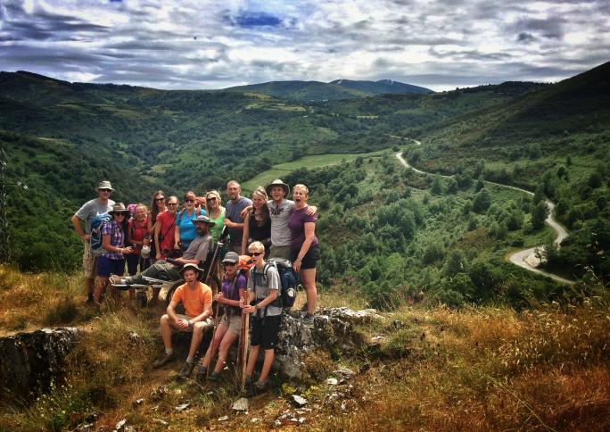 Patrick Gray and Justin Skeesuck along with friends they met on the Camino