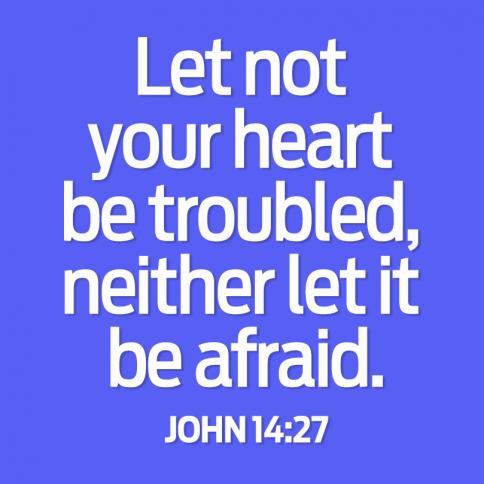 Let not your heart be troubled, neither let it be afraid. John 14:27