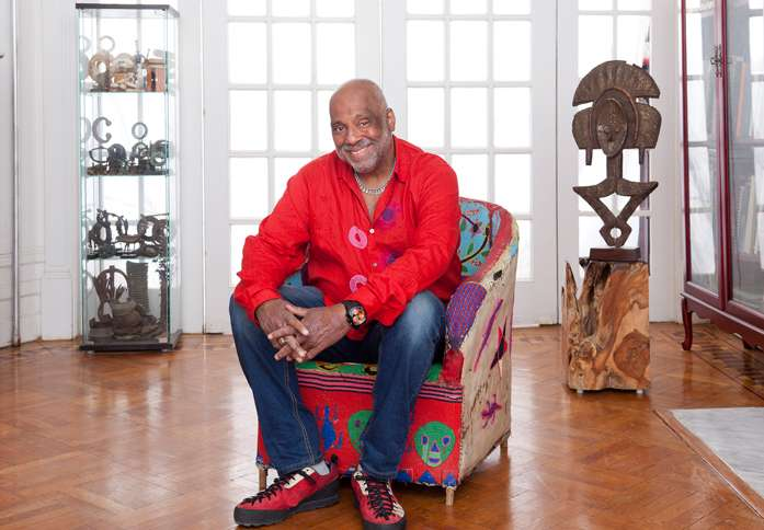 Danny Simmons in his Brooklyn home and studio