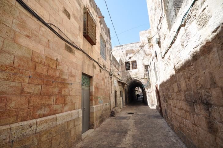 The Muslim Quarter in the ancient, walled City of Jerusalem.