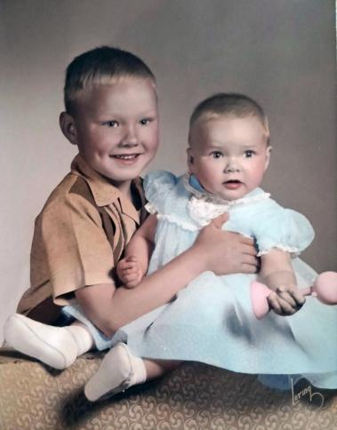 Susan and her older brother, ca. 1955