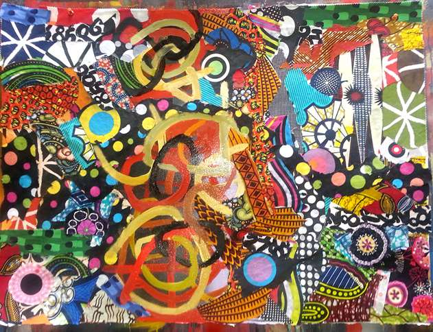 """This 2013 work by Simmons, entitled Sweet Secrets, is oil and fabric on paper and measures 18"""" x 24""""."""