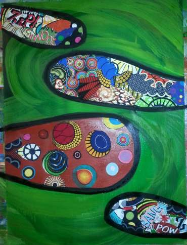 """This 2014 work by Simmons, entitled Zap Zoom, is oil on canvas and measures 22"""" x 30""""."""
