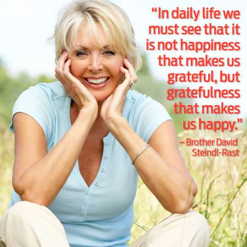 Guideposts: In daily life we must see that it is not happiness that makes us grateful, but gratefulness that makes us happy--Brother David Steindl-Rast