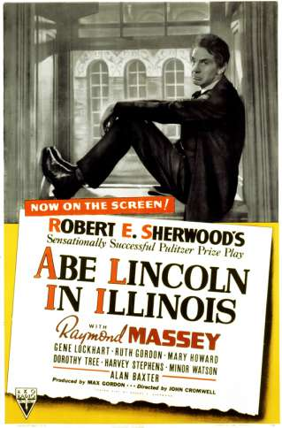 Raymond Massey pictured on a poster for the 1940 movie Abe Lincoln in Illinois