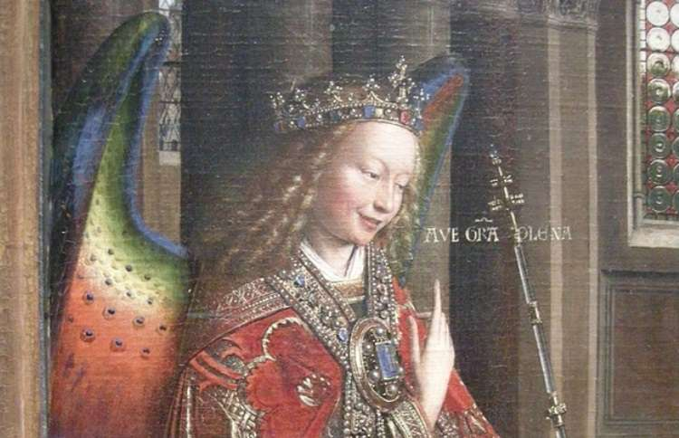 Jan van Eyck's depection of Archangel Gabriel in a deacon's vestments, and multi-colored wings above.