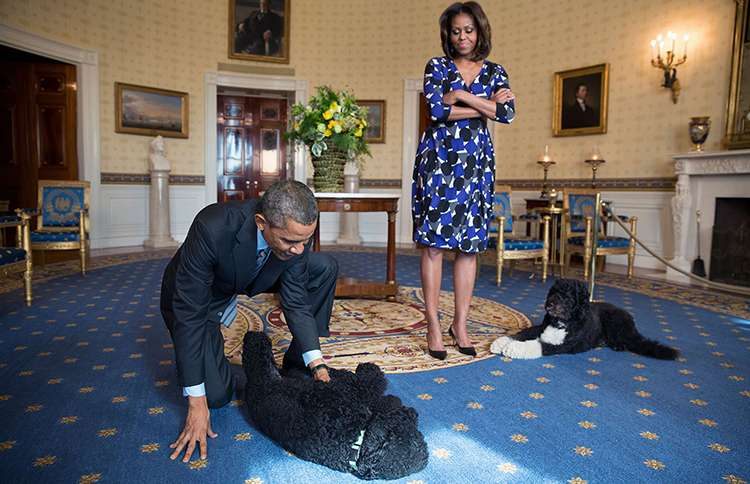 Guideposts: Barack and Michelle Obama with Bo and Sunny in the Oval Office