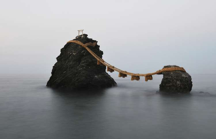 Meoto Iwa, aka the Wedded Rocks in Futami Bay, Japan.