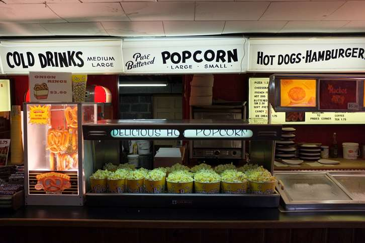 A drive-in concession stand tempts patrons with a wide variety of tasty treats.
