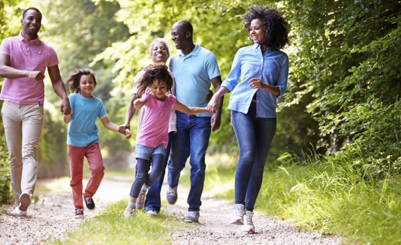family takes a walk in the country