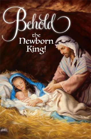 The cover of a Someone Cares Christmas card, depicting Joseph gazing down at Mary and the Christ Child