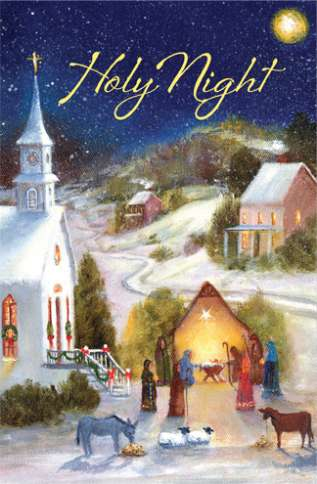 The cover of this card depicts a nativity scene on a snowy night outside a church.