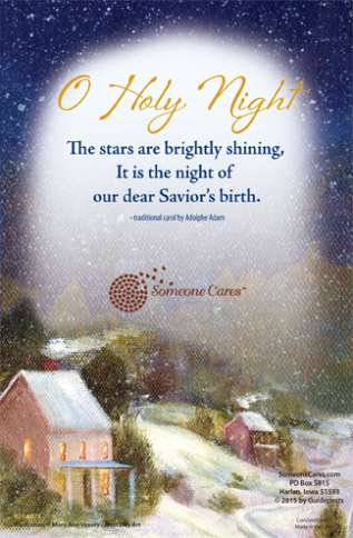 O Holy Night, The stars are brightly shining, It is the night of our dear Savior's birth.