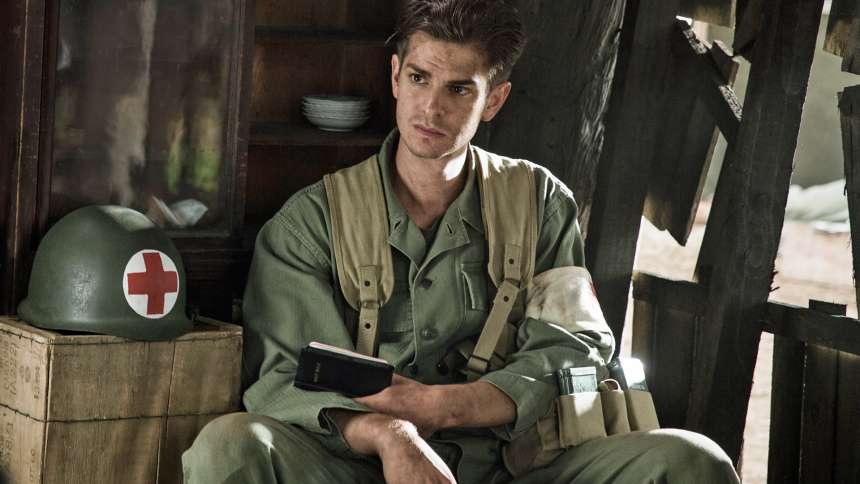 "Andrew Garfield in ""Hacksaw Ridge"""