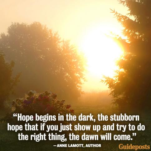 """Hope begins in the dark, the stubborn hope that if you just show up and try to do the right thing, the dawn will come."" Anne Lamott, Author"