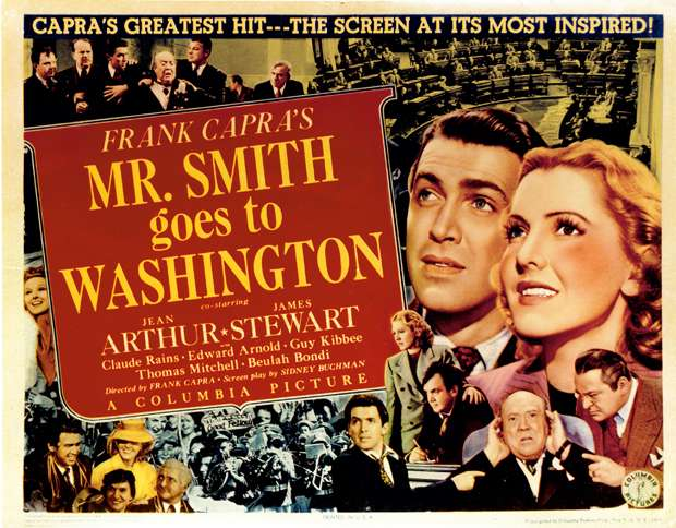A 1939 movie poster for Mr. Smith Goes to Washington, featuring James Stewart and Jean Arthur