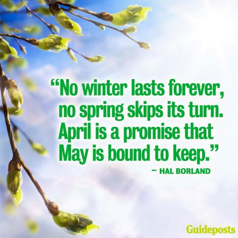 """No winter lasts forever, no spring skips its turn. April is a promise that May is bound to keep."""