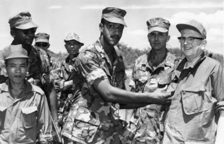 Dr. Norman Vincent Peale visits the troops in Vietnam