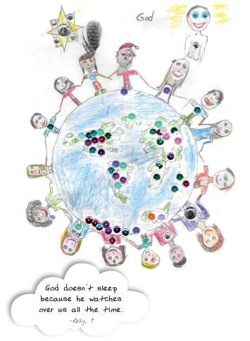 God doesn't get any sleep in this drawing from the new book, OMG! How Children See God.