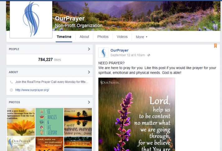 OurPrayer's Facebook uplifts and supports thousands each and every day.
