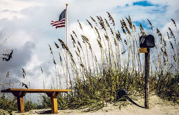 The Kindred Spirit Mailbox on Bird Island State Reserve in North Carolina.