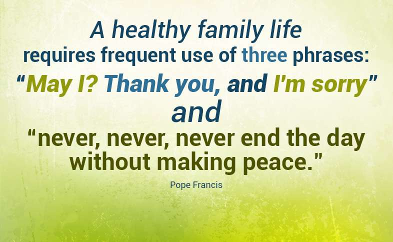 """A healthy family life requires frequent use of three phrases: """"May I? Thank you, and I'm sorry"""" and """"never, never, never end the day without making peace."""" Pope Francis"""