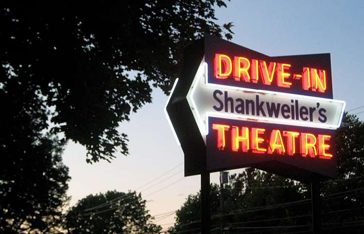 This neon sign greets patrons as they enter Shankweiler's, the nation's oldest drive-in
