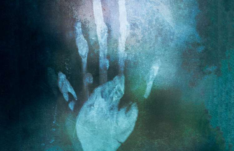 Guideposts: An artist's rendering of a mysterious handprint on a mirror of blue and green