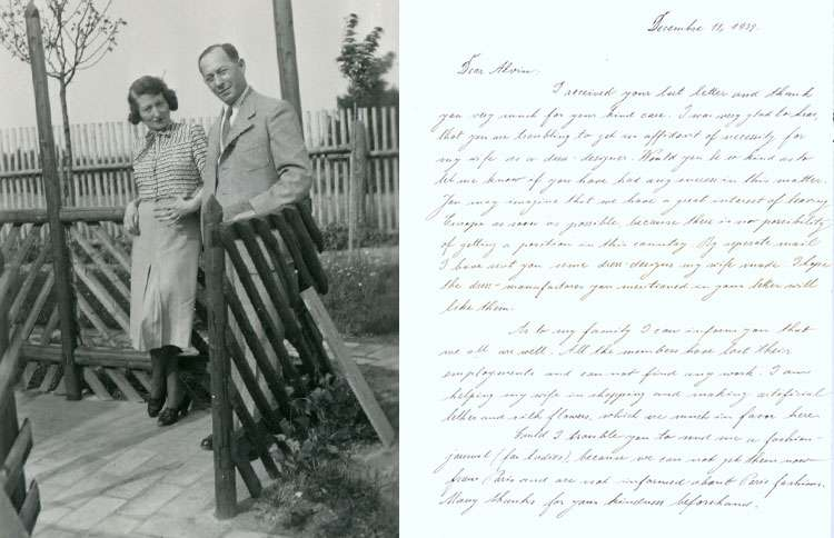 A photograph of Paul and Hedwig Strnad, paired with Paul's letter