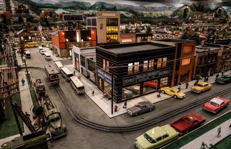 Guideposts: A close-up of a miniature town at Shartlesville, PA's Roadside America