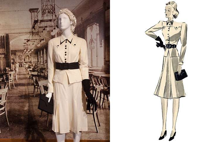 A dress (left) based on one of Hedwig's designs (right)