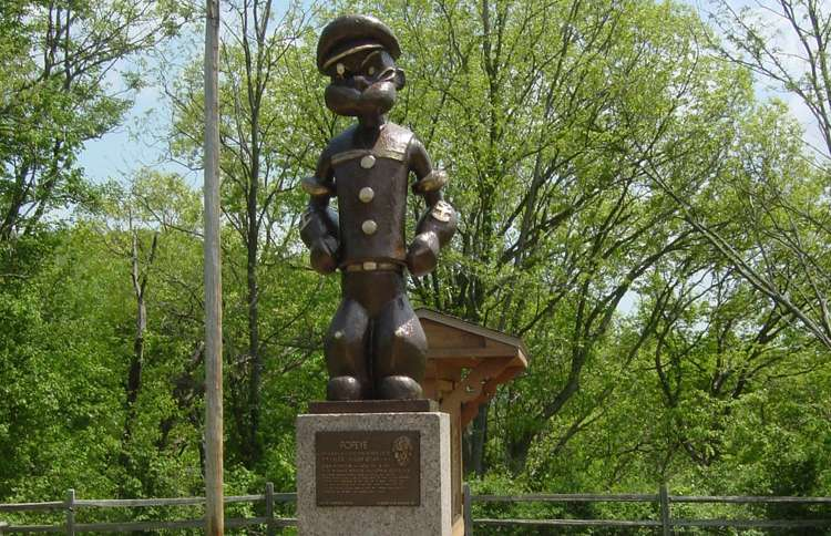 Guideposts: A statue of the cartoon character Popeye the Sailor Man in Chester, Illinois