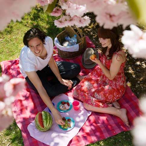Guideposts: A young couple picnics under a blossoming cherry tree.