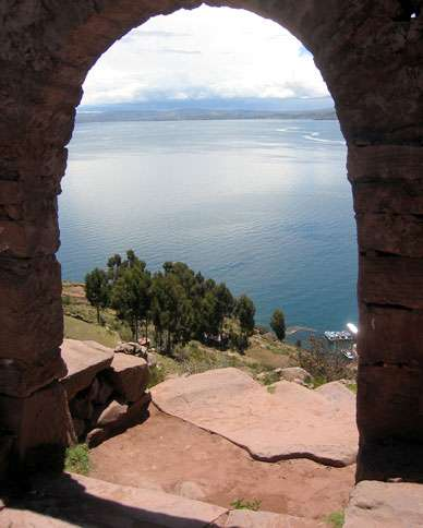 The view from the island of Taquille in Lake Titicaca, the world's highest navigable lake and the largest in South America