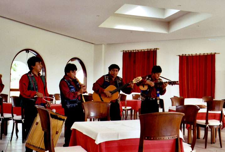 Near Nazca, Kate had lunch at a hotel restaurant that featured a pet toucan, a pet monkey and live music.