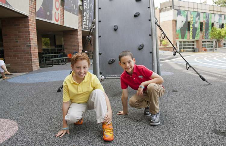 Guideposts: Jonah and Dylan pose in their school's playground