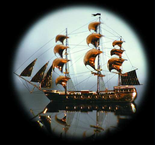 Guideposts: Small but mighty, this miniature ship is 3.5 mm long.