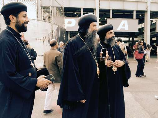 Guideposts: Three orthodox Christian priests, Pope Francis. New York City