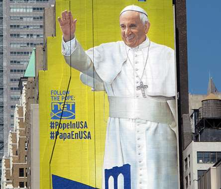 Guideposts:  Pope Francis sign, New York City