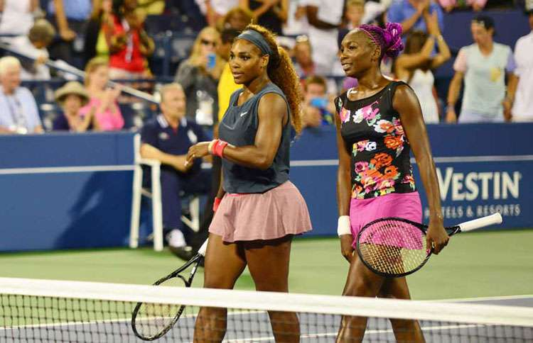 Guideposts: Serena (left) and Vanessa Williams following a doubles match