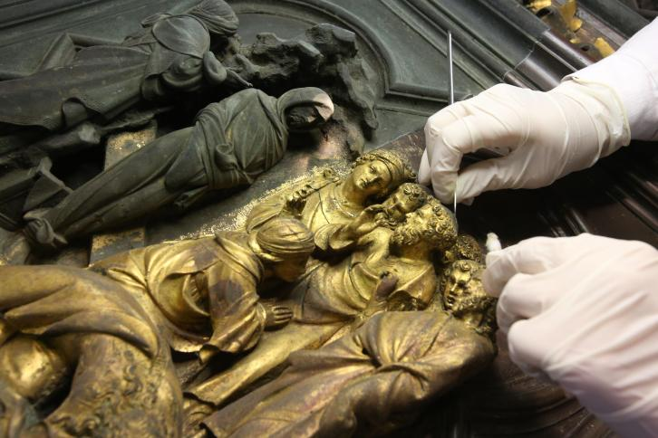 the restoration of the North Doors of the Baptistery in Florence
