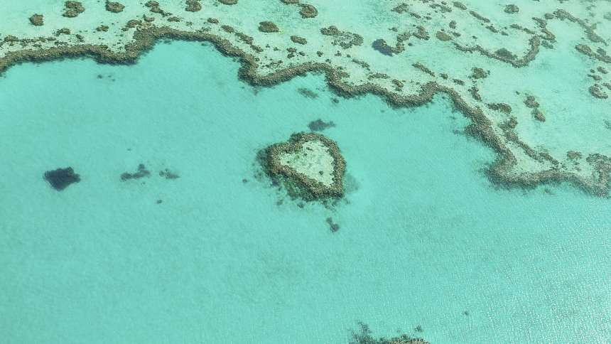 The Heart Reef in the Great Barrier Reef in Australia