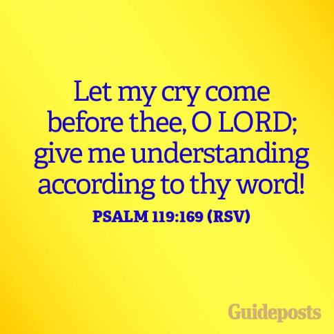 Let my cry come before thee, O Lord; give me understanding according to thy word! Psalm 119:169