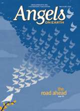 An artist's rendering of birds on the wing transforming into angels on the cover of the May-June 2016 issue of Angels on Earth magazine