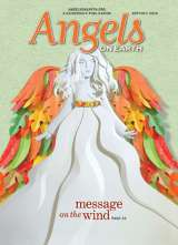 An artist's rendering of an autumnal angel on the cover of the September/October 2016 issue of Angels on Earth magazine